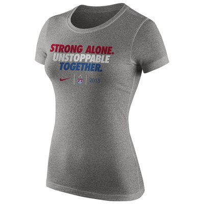US Women's Soccer Team Nike Women's 2015 World Champions Slogan Dri-Blend T-Shirt - Heather Gray