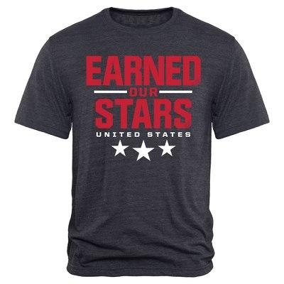US Women's Soccer Team 2015 World Champions Earned Our Stars Tri-Blend T-Shirt - Navy