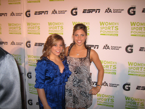 Former Olympian and Collegiate Gymnast Courtney Kupets poses with Olympian Shawn Johnson at the 2009 Annual Salute to Women in Sports. Kupets was the recipient of the individual award.
