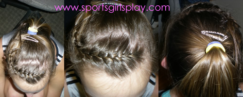 Cheer hairstyle with braided bangs