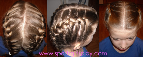Two French Braids for gymnastics meets