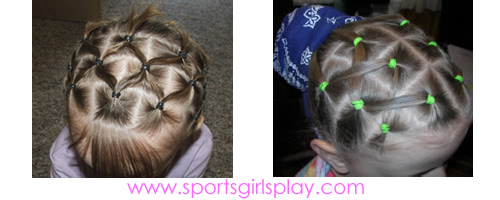 Spider web, pineapple, modified pineapple hairstyle for gymnastics meets