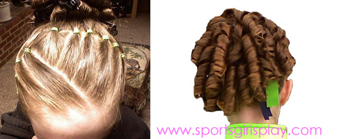 Hairstyle for gymnastics or cheerleading competitions