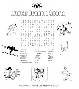 Winter Olympics Sport Word Search