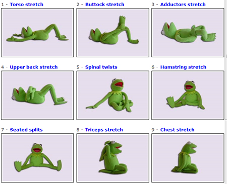 Kermit the Frog stretching